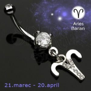Piercing do pępka zawieszka znak zodiaku- Baran