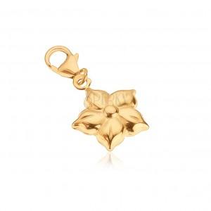Złoty wisiorek 585 - lśniący rozwinięty kwiat o pięciu płatkach