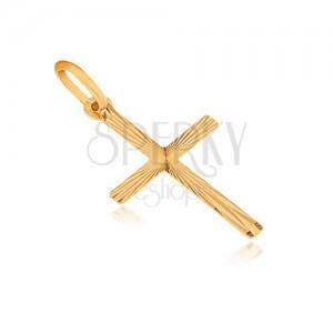 Wisiorek ze złota 14K - płaski krzyż łaciński, rozchodzące się promienie