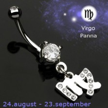 Piercing do pępka zawieszka znak zodiaku - Panna