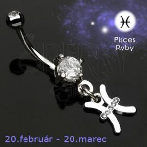 Piercing do pępka zawieszka znak zodiaku - Ryby