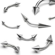 Piercing do brwi ze stali - dwa lśniące szpiczaste groty