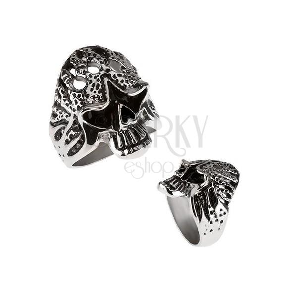 Masywny pierścień ze stali chirurgicznej - czaszka w płomieniach