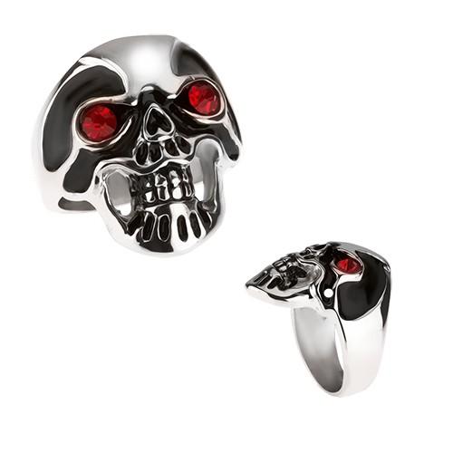 Masywny stalowy pierścionek - czaszka czarna szklista masa czerwone oczy - Rozmiar : 70