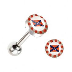Piercing do języka - stalowy, flaga Konfederacii