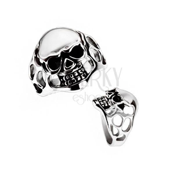 Masywny pierścionek ze stali chirurgicznej - czaszka, wycięcia