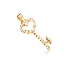Złoty wisiorek 585 - sercowy klucz wykładany przezroczystymi kamyczkami