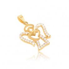 Wisiorek z zółtego 14K złota - kontur aniołka, bezbarwne okrągłe cyrkonie