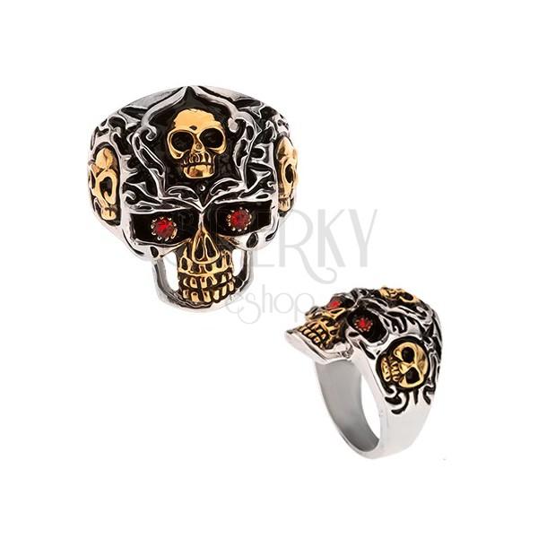 Pierścień ze stali 316L, złoto-srebrna czaszka, czerwone kamienie
