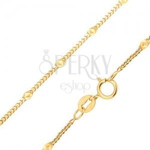 Złoty łańcuszek 585 - drobne równe owalne ogniwa, elipsa z trójkątami
