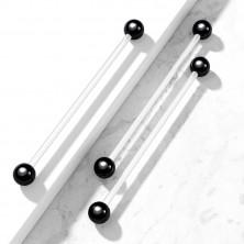 Elastyczny piercing - przezroczysta sztanga z błyszczącymi czarnymi kuleczkami