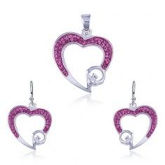 Komplet ze sreba - zawieszka i kolczyki, różowy kontur serca