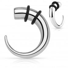 Expader ze stali chirurgicznej - hak srebrnego koloru z czarnymi gumkami