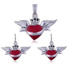 Komplet ze srebra 925 - czerwone oskrzydlone serduszko z kononą