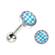 Barbell do języka, niebiesko-biała szachownica