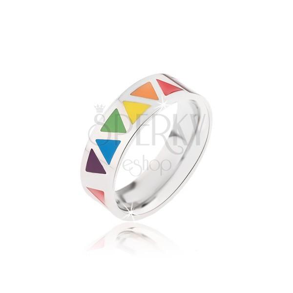 Lśniący stalowy pierścionek z kolorowoymi trójkątami