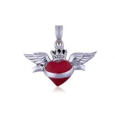 Wisiorek ze srebra 925, serduszko ze skrzydłami i wstęga