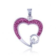Różowy cyrkoniowy kontur serca - zawieszka ze srebra 925
