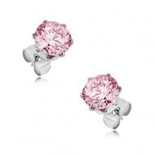 Stalowe sztyfty - okrągły różowy kamyczek, różne rozmiary