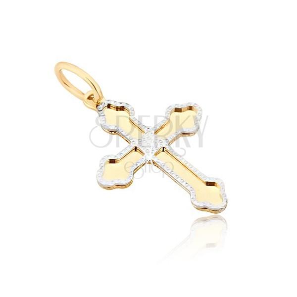 Złoty wisiorek 585 - lśniący krzyż, potrójne zaokrąglone końce ramion, zdobiony zarys