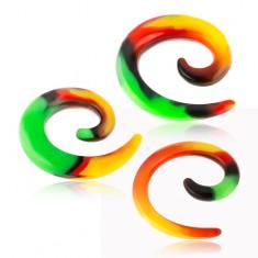 Silikonowy expander do ucha, spirala z rastafariańskim wzorkiem