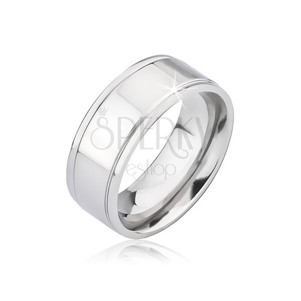 Błyszcząca srebrna obrączka z tytanu z dwoma rowkami