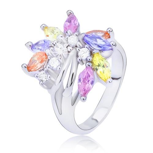 Srebrny pierścionek z kolorowym cyrkoniowym wachlarzem - Rozmiar : 49