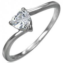 Zaręczynowy stalowy pierścionek, cyrkoniowe serce bezbarwnego koloru, wąskie zakrzywione ramione
