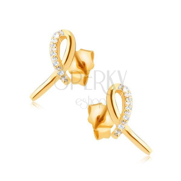Kolczyki z żółtego złota 14K - lśniąca wstążka, łuczek z przezroczystych kamyczków