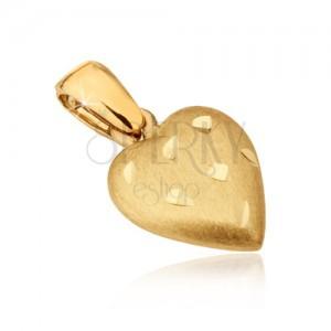 Złoty wisiorek 585 - przestrzenne serce o satynowej powierzchni, rowki