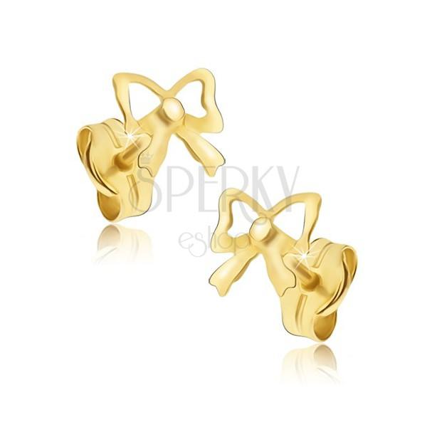 Złote kolczyki wkręty 585 - kokardki o lustrzanym połysku