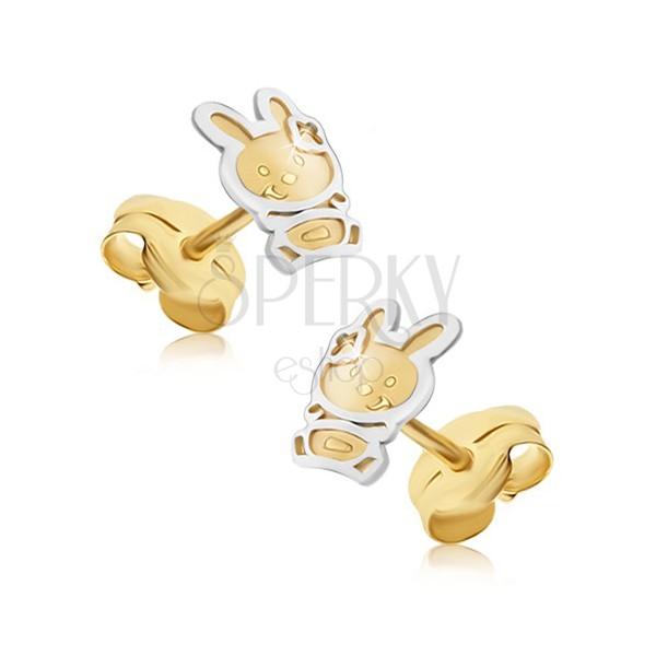 Złote kolczyki 585 - dwukolorowy zajączek o satynowej powierzchni, lśniący zarys