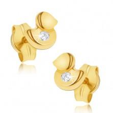 Sztyfty w żółtym złocie 14K - mała lśniąca kaczuszka i cyrkonia