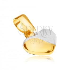 Zawieszka w żółtym 14K złocie - regularne wypukłe serce, dwukolorowe