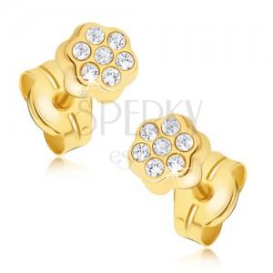 Kolczyki z żółtego złota 14K - drobny cyrkoniowy kwiatek