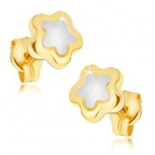 Lśniące kolczyki ze 14K złota - pięciopłatkowy dwukolorowy kwiat