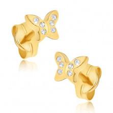Wkrętki ze złota 14K - drobny cyrkoniowy motyl