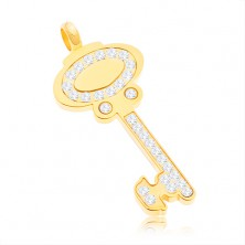 Zawieszka ze stali chirurgicznej - klucz złotego koloru ozdobiony bezbarwnymi cyrkoniami