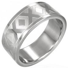 Stalowy obrączka srebrnego koloru ze wzorem X, 8 mm