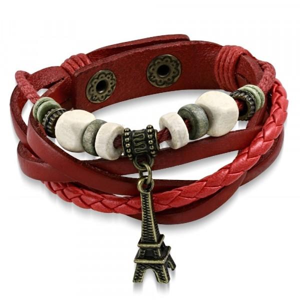 Pleciona czerwona bransoletka, sznurek, koraliki,  wieża Eiffla