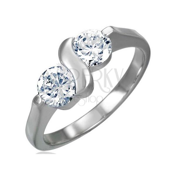 Zaręczynowy pierścionek ze stali chirurgicznej z podwójną cyrkonią