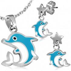 Stalowy komplet - kolczyki i zawieszka, delfinek