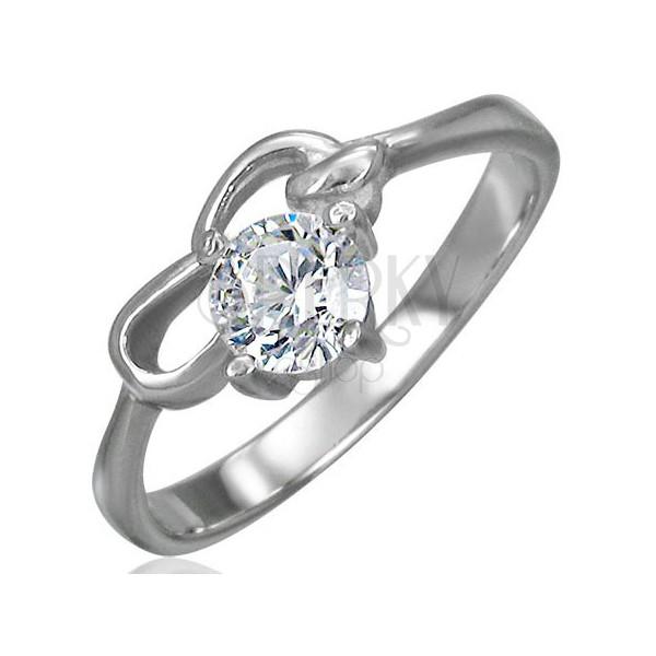 Zaręczynowy pierścionek ze stali chirurgicznej z cyrkonią bezbarwnego koloru i dwiema pętelkami