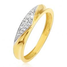 Pierścionek z żółtego złota 14K - obrączka z wyżłobionym środkiem, cyrkoniowy trójkąt