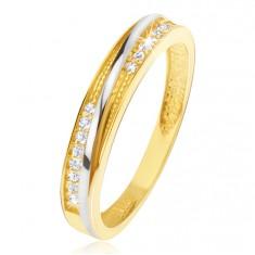 Pierścionek z żółtego złota 14K - ozdobne trójkątne nacięcia, cyrkonie