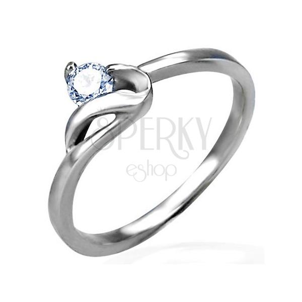 Zaręczynowy pierścionek srebrnego koloru, stal 316L, okrągła bezbarwna cyrkonia i faliste ramię