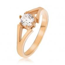 Stalowy pierścionek w złotym kolorze, rozdwojone ramiona, kamyczek
