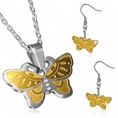Dwukolorowy komplet - kolczyki motyle i łańcuszek z zawieszką