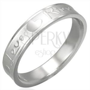Stalowy pierścionek Love & Kiss