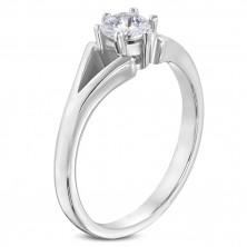 Stalowy pierścionek srebrnego koloru - zaręczynowy, rozdzielone ramiona, bezbarwna cyrkonia